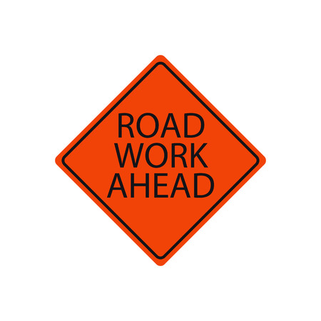 Road work ahead sign isolated on white
