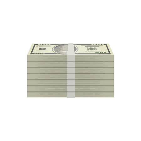 Bundles of dollar banknotes isometric icon