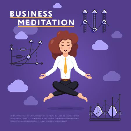 Businesswoman in meditation pose on work Illustration