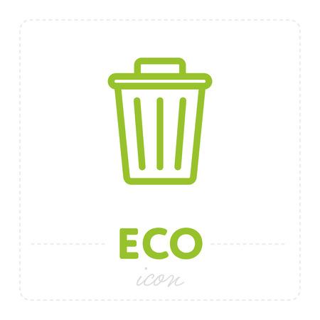 Trash can icon in Eco design