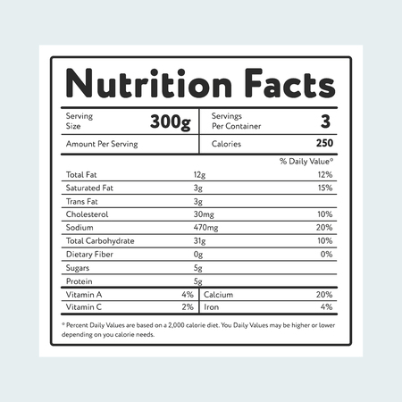 Nutrition facts in label on light blue Vectores