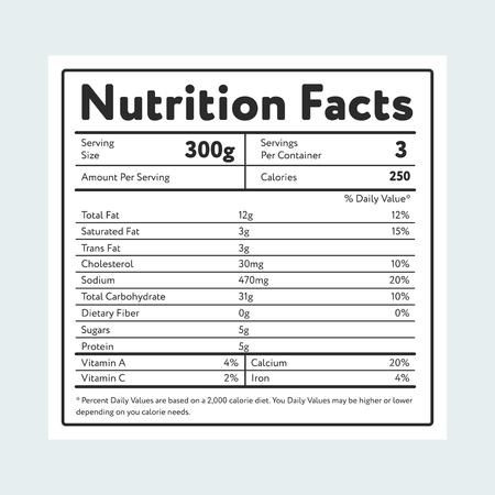 Voedingsfeiten in etiket op lichtblauw Vector Illustratie