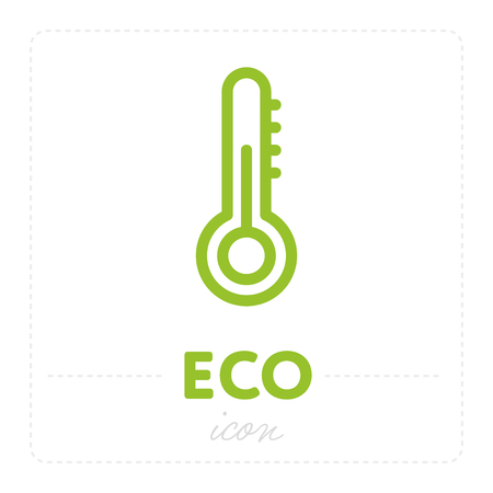 Simple element with thermometer and temperature for ecology icon isolated on white background