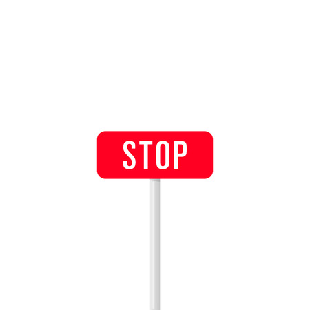 Minimalist icon of signpost with red board saying Stop in white letters isolated on white