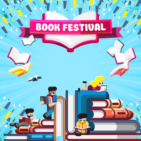 Affiche colorée pour le festival du livre