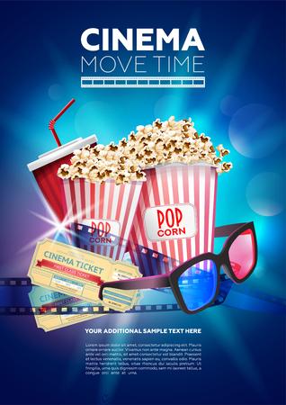 Cartel multicolor brillante que muestra la hora de la película de cine con imagen de palomitas de maíz y vasos con entradas