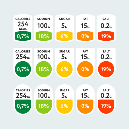 Composed colorful tags with various nutrients shown in grams and percentage of daily norm