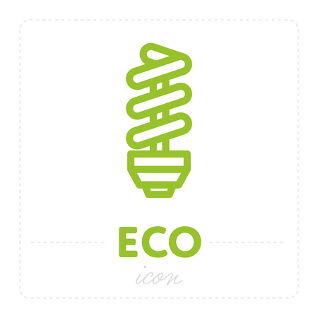 Simple ecology icon showing energy saving light bulb in green color on white backdrop