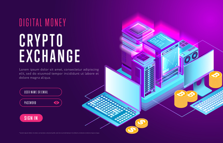 Stylish Internet webpage about digital money and authorization in service for cryptocurrency exchange Archivio Fotografico - 102912017