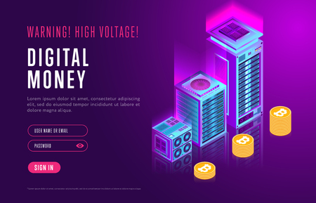Colorful design in isometry of webpage about digital money and authorization service on resource