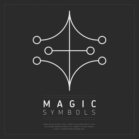 Linear design of white magical sign on dark gray background