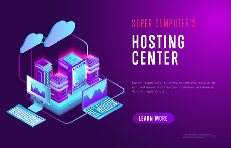 Vector isometric design of web page with information about hosting center and contemporary database technology on purple