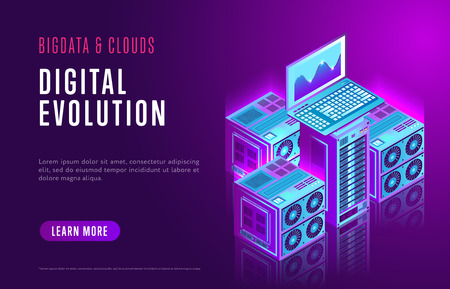 Colorful design of Internet resource page about contemporary digital evolution and network database on purple