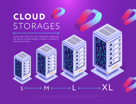 Isometric vector design of colorful server boxes of different sizes arranged on purple Ilustração