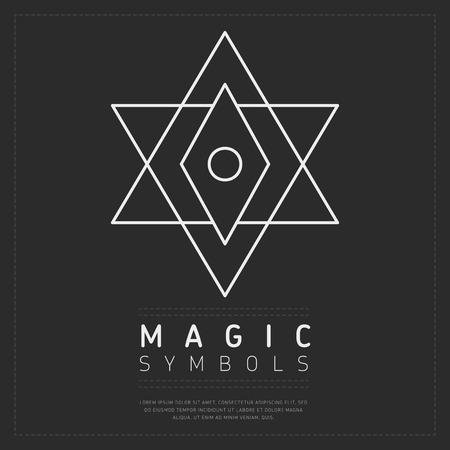Minimalist white linear element of magic symbol on gray backdrop Illustration