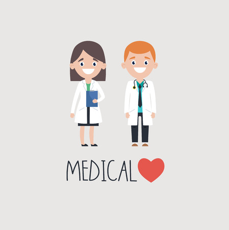Man and woman doctors over medical word