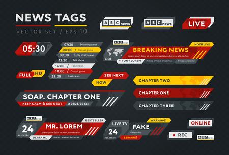 Conjunto gráfico de etiquetas de noticias multicolores para presentación televisiva compuesto sobre fondo gris oscuro