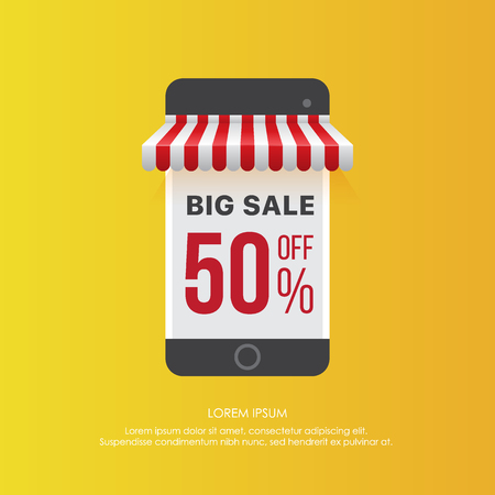 Colorful element of smartphone showing sale
