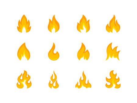 Raccolta di forme multicolori di fiamma