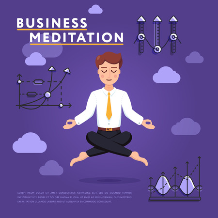 Businessman meditating in peace of mind Stock Photo