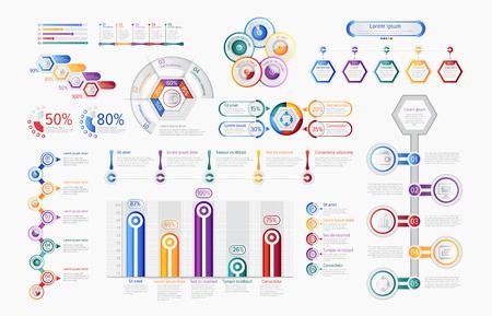 Gráficos infográficos multicolores en conjunto