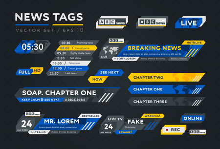 Colorful tags for news broadcast