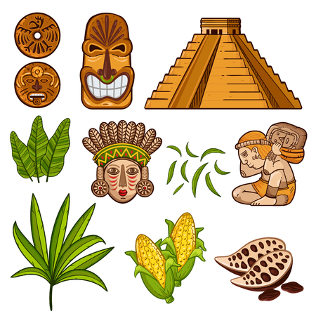 Vector colorful set of Maya civilization objects with masks and temple and agricultural products isolated on white background 矢量图像