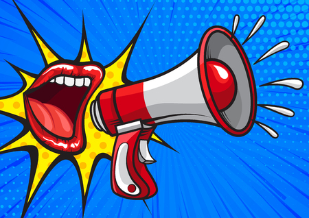 Bright pop art design of red lips yelling in megaphone on blue background telling news 矢量图像