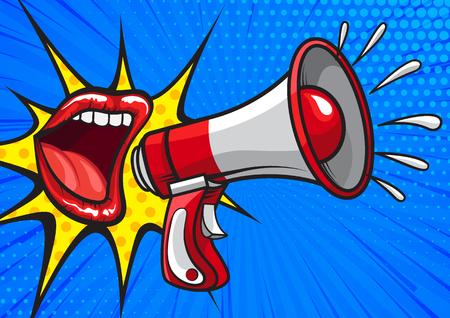 Bright pop art design of red lips yelling in megaphone on blue background telling news Çizim