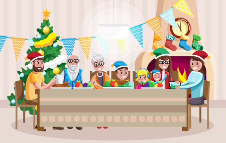 Colorful vector flat style design of cheerful multi-generational family celebrating Christmas with dinner