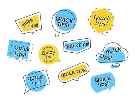 Set of vector banners in different shapes showing quick tips isolated on white background Vecteurs