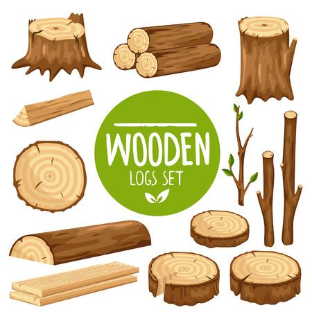 Set vettoriale colorato di vari tronchi di legno e mozziconi isolati su sfondo bianco Vettoriali