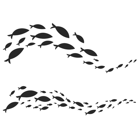 Vector element of black silhouette of fish in shoals swimming in wave line isolated on white background Illustration