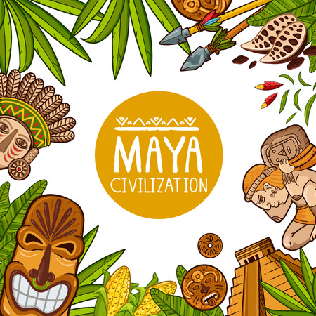 Creative cartoon vector design of banner with cultural elements of Maya civilization isolated on white background