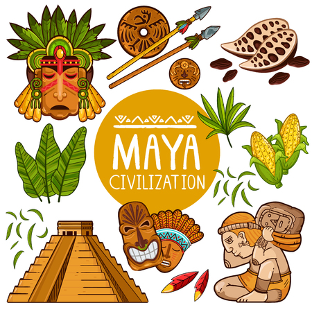 Vector set of composed temple and ornamental masks of Maya civilization with cacao and weapon on white background Illustration