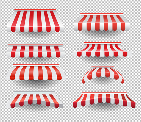 Vector set of graphic colorful tents in red and white stripes on transparent background Vectores