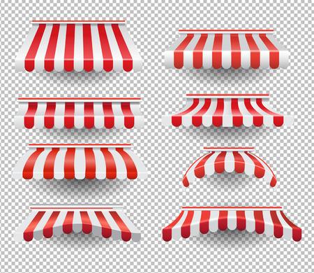 Vektorsatz grafische bunte Zelte in den roten und weißen Streifen auf transparentem Hintergrund Vektorgrafik