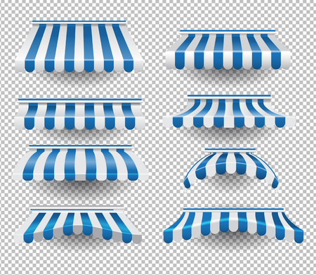 Vector set of white and blue colored striped tents of different shapes on transparent background