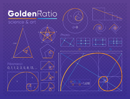 Satz goldenes Schnittelement Vektorgrafik