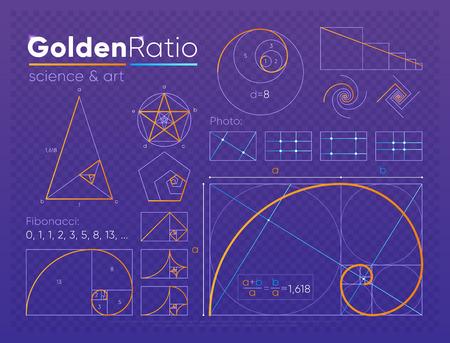 Zestaw elementu złotego podziału Ilustracje wektorowe