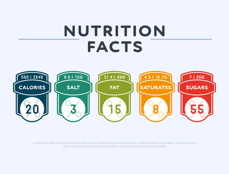 Colorful tags for nutrition information presentation Stok Fotoğraf - 107087029