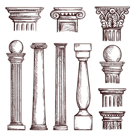 Arabic architecture columns engraved illustration with stone marble pillar vector set isolated. Marble column, pillar classical culture greece or roman illustration