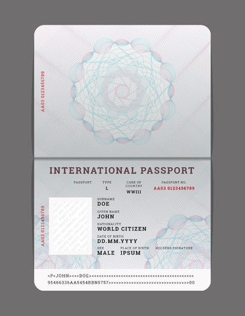 Blank open passport template