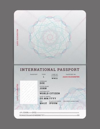 Plantilla de pasaporte abierto en blanco