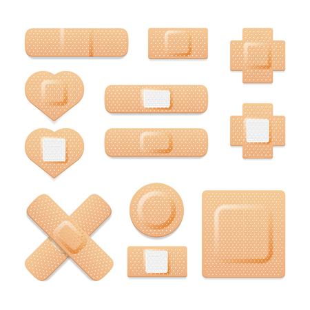 Adhesive bandage elastic medical plasters vector collection. Set of illustration of medical plaster, elastic bandage patch