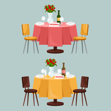 Reserved sign on the table in restaurant cartoon vector illustration