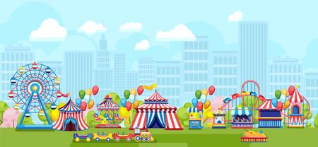 Płaski styl jasnych targów w parku rozrywki na tle miejskim