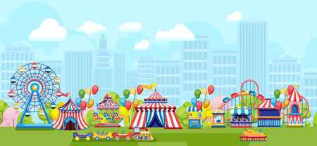 Flat style of bright fair in amusement park on urban background Illustration