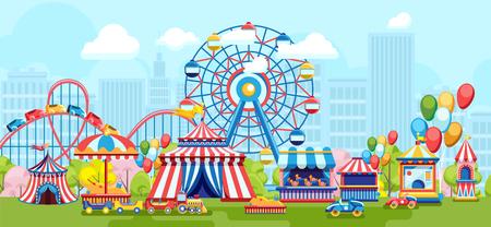 Design piatto luminoso del parco divertimenti con ruota panoramica sullo sfondo urbano