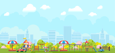 Colorful panorama of urban park with playground and kids playing constructions Ilustrace
